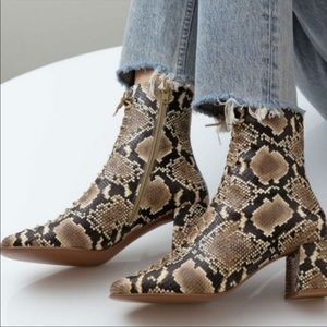 By FAR | Becca Leather Snakeskin Lace Up Bootie